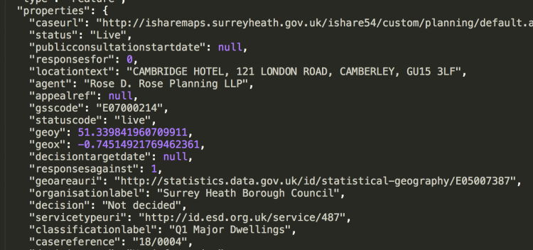 Surrey Planning API - json code