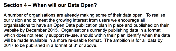 Screenshot of SG's Open Data Strategy 2015