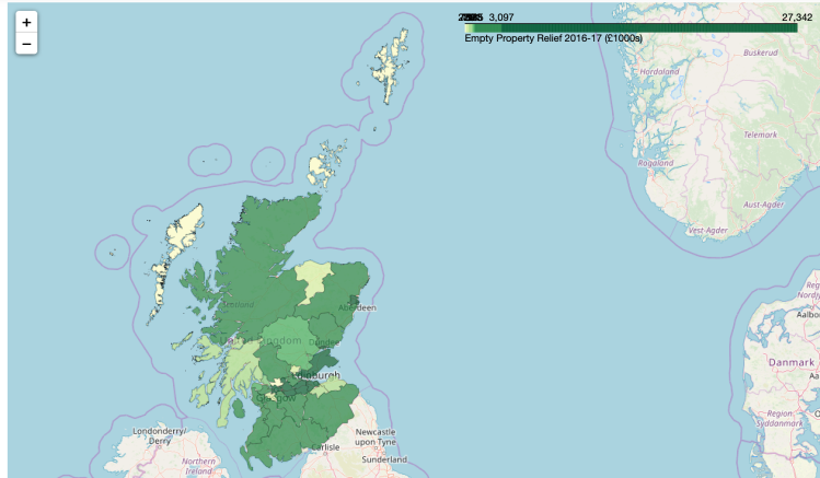 Choropleth of Scottish councils. Data Source: https://www2.gov.scot/Topics/Statistics/Browse/Local-Government-Finance/PubScottishLGFStats/SLGFS201617excel Contains OS data © Crown copyright and database right (2019)